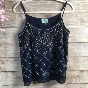 Skies are Blue Navy Embroidered Sheer Beaded Tank
